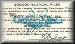 Tim's 200,000 Mile card (Nautical that is)