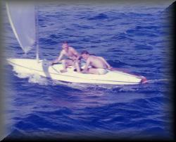 Roy Kaye and John Cottrell practicing being skimmers in Bermuda