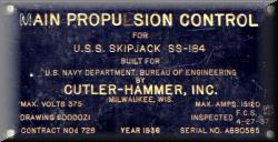 Main Propulsion Control Nameplate. Presented to SSN-585 at Commissioning. Carried by SSN-585 till Decommissioning. Courtesy of Frank Stroup